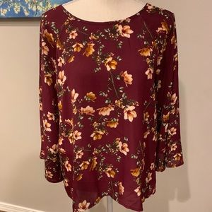 Papermoon Maroon Floral High/Low Blouse